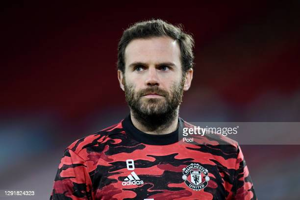 Juan Mata of Manchester United looks on during the warm up ahead of the Premier League match between Sheffield United and Manchester United at...