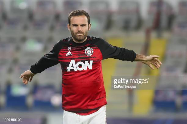 Juan Mata of Manchester United looks on prior to the UEFA Champions League Group H stage match between Istanbul Basaksehir and Manchester United at...