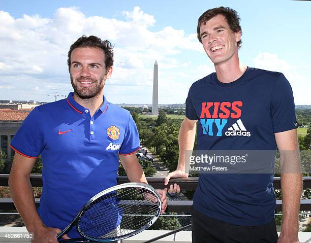 Juan Mata of Manchester United meets tennis player Jamie Murray who is playing in the Citi Open, at their hotel on July 28, 2014 in Washington, DC.