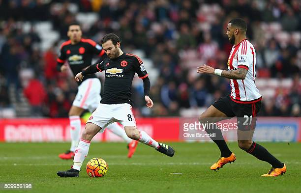 Juan Mata of Manchester United passes the ball during the Barclays Premier League match between Sunderland and Manchester United at the Stadium of...