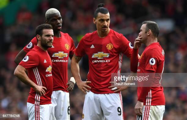 Juan Mata of Manchester United Paul Pogba of Manchester United Zlatan Ibrahimovic of Manchester United and Wayne Rooney of Manchester United all look...