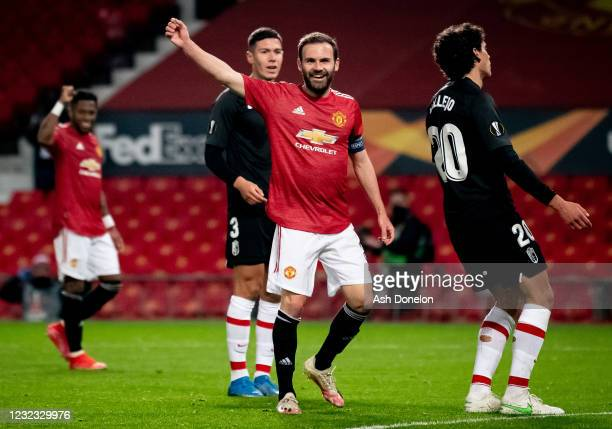 Juan Mata of Manchester United reacts after Jesus Vallejo of Granada scored an own goal during the UEFA Europa League Quarter Final Second Leg match...