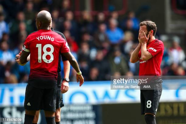 Juan Mata of Manchester United reacts during the Premier League match between Huddersfield Town and Manchester United at John Smith's Stadium on May...