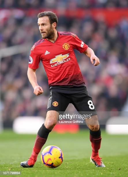 Juan Mata of Manchester United runs with the ball during the Premier League match between Manchester United and Crystal Palace at Old Trafford on...