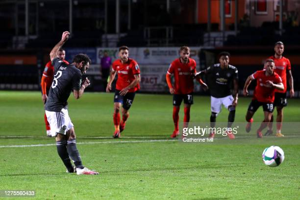 Juan Mata of Manchester United scores his sides first goal during the Carabao Cup Third Round match between Luton Town and Manchester United at...