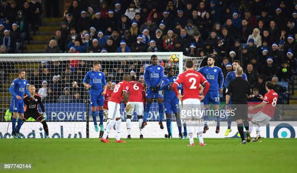 Juan Mata of Manchester United scores his team's second goal during the Premier League match between Leicester City and Manchester United at The King...