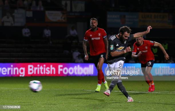 Juan Mata of Manchester United scores their first goal during the Carabao Cup Third Round match between Luton Town and Manchester United at...