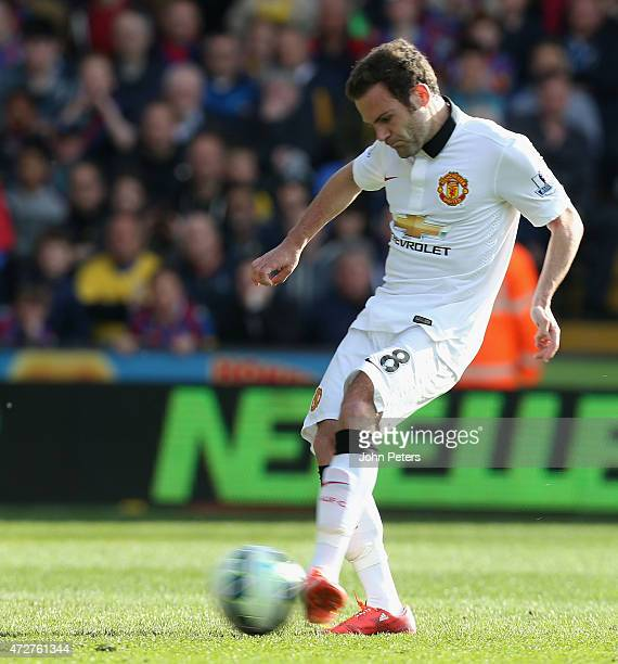Juan Mata of Manchester United scores their first goal during the Barclays Premier League match between Crystal Palace and Manchester United at...