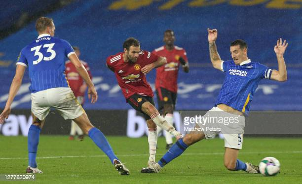 Juan Mata of Manchester United scores their second goal during the Carabao Cup fourth round match between Brighton and Hove Albion and Manchester...