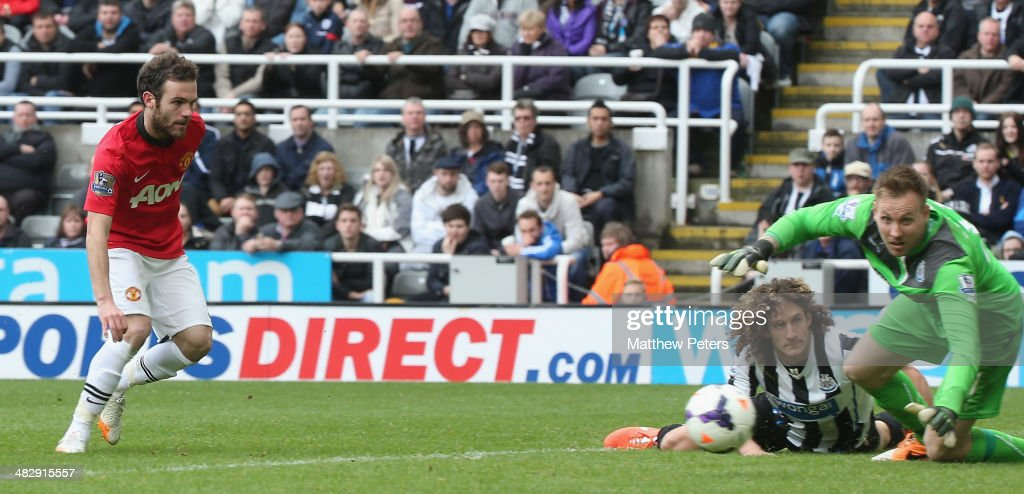 Juan Mata of Manchester United scores their second goal during the Barclays Premier League match between Newcastle United and Manchester United at St James' Park on April 5, 2014 in Newcastle upon Tyne, England.