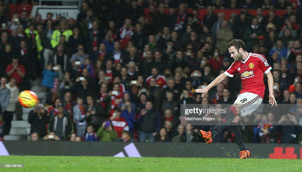 Juan Mata of Manchester United scores their second goal during the Barclays Premier League match between Manchester United and West Bromwich Albion at Old Trafford on November 7, 2015 in Manchester, England.