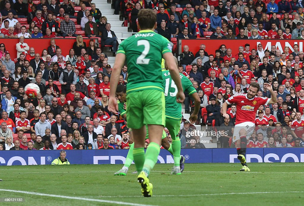 Juan Mata of Manchester United scores their third goal during the Barclays Premier League match between Manchester United and Sunderland on September 26, 2015 in Manchester, United Kingdom.