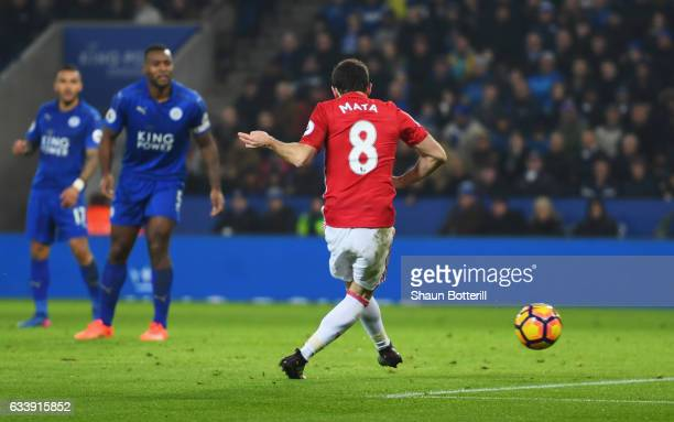 Juan Mata of Manchester United scores their third goal during the Premier League match between Leicester City and Manchester United at The King Power...