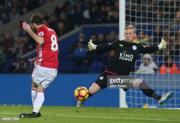 Juan Mata of Manchester United scores their third goal during the Premier League match between Leicester City and Manchester United at The King Power...