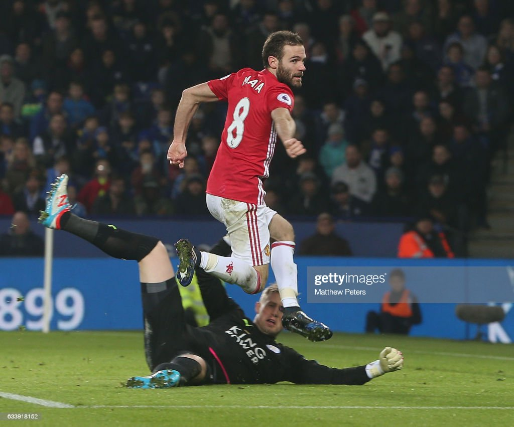 Juan Mata of Manchester United scores their third goal goal during the Premier League match between Leicester City and Manchester United at The King Power Stadium on February 5, 2017 in Leicester, England.