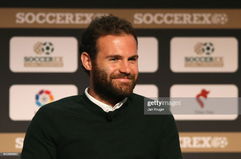 Juan Mata of Manchester United smiles during day 2 of the Soccerex Global Convention at Manchester Central Convention Complex on September 5, 2017 in Manchester, England.