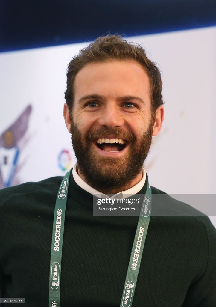 Juan Mata of Manchester United smiles in the La Liga lounge during day 2 of the Soccerex Global Convention at Manchester Central Convention Complex on September 5, 2017 in Manchester, England.
