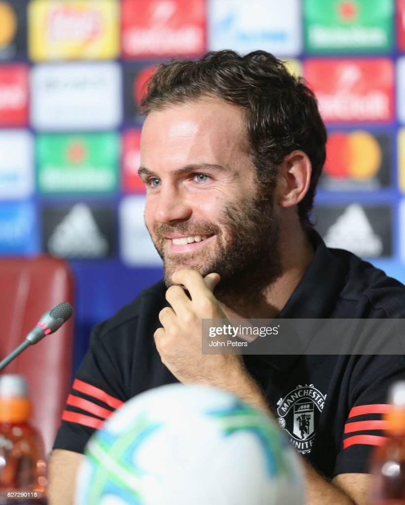 Juan Mata of Manchester United speaks during a press conference ahead of the UEFA Super Cup match between Manchester United and Real Madrid on August 7, 2017 in Skopje, Macedonia.