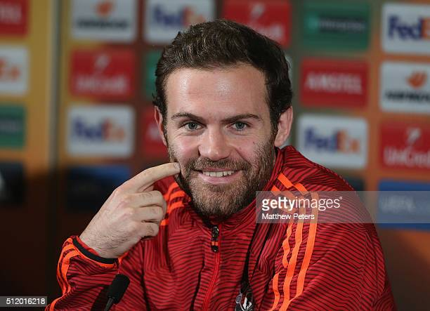 Juan Mata of Manchester United speaks during a press conference at Old Trafford on February 24 2016 in Manchester United Kingdom