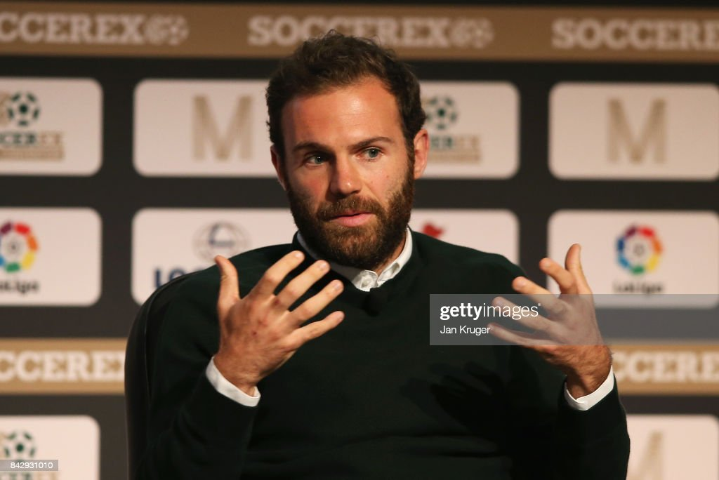 Juan Mata of Manchester United talks during day 2 of the Soccerex Global Convention at Manchester Central Convention Complex on September 5, 2017 in Manchester, England.