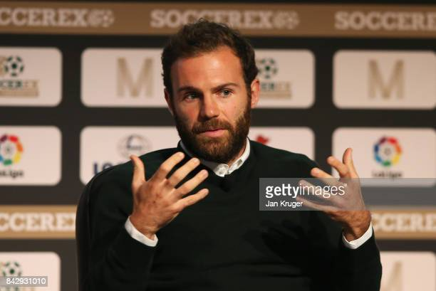 Juan Mata of Manchester United talks during day 2 of the Soccerex Global Convention at Manchester Central Convention Complex on September 5, 2017 in...