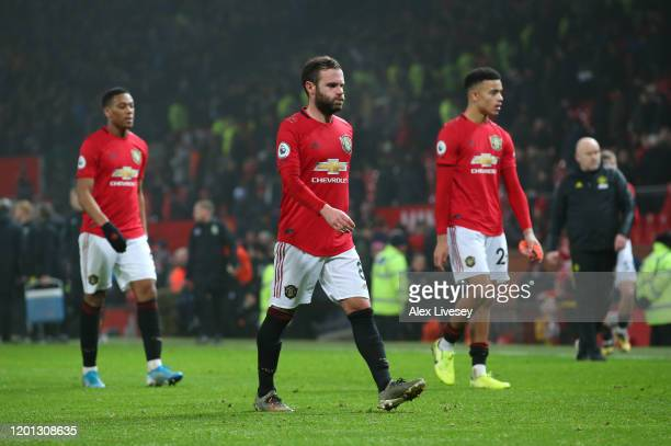 Juan Mata of Manchester United walks off after defeat in the Premier League match between Manchester United and Burnley FC at Old Trafford on January...
