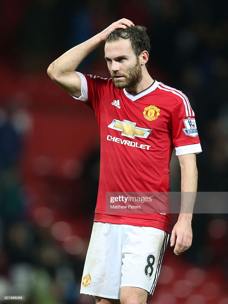 Juan Mata of Manchester United walks off after the Barclays Premier League match between Manchester United and Norwich City at Old Trafford on December 19, 2015 in Manchester, England.