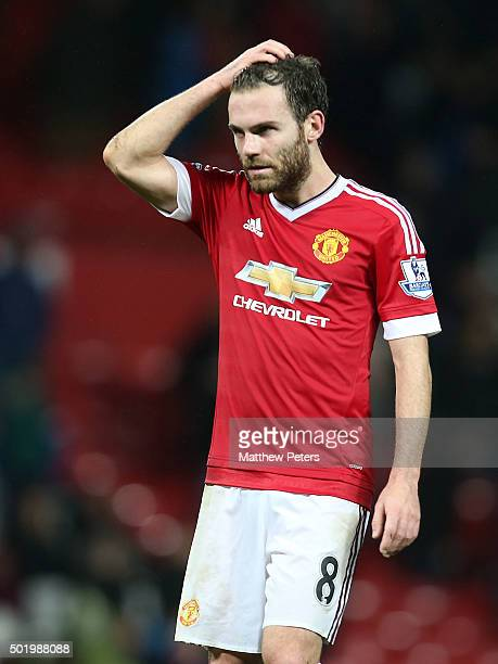 Juan Mata of Manchester United walks off after the Barclays Premier League match between Manchester United and Norwich City at Old Trafford on...