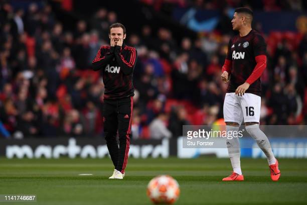 Juan Mata of Manchester United warms up prior to the UEFA Champions League Quarter Final first leg match between Manchester United and FC Barcelona...