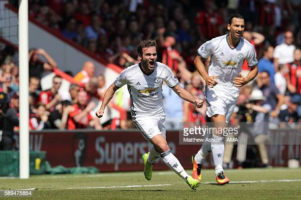 Juan Mata of Manchester Untied celebrates after scoring a goal to make it 0 1 during the Premier League match between AFC Bournemouth and Manchester...