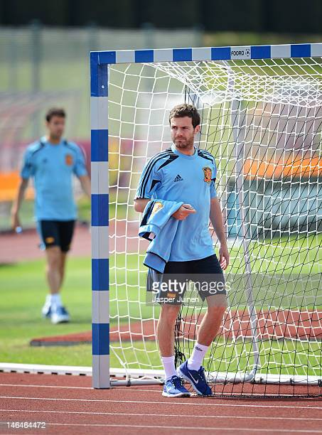 Juan Mata of Spain arrives for a training session ahead of their UEFA EURO 2012 group C match against Croatia on June 17 2012 in Gniewino Poland