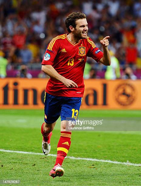 Juan Mata of Spain celebrates after scoring his team's fourth goal during the UEFA EURO 2012 final match between Spain and Italy at the Olympic...