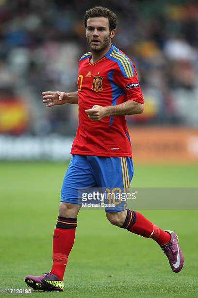 Juan Mata of Spain during the UEFA European Under21 Championship semifinal match between Belarus and Spain at the Viborg Stadium on June 22 2011 in...
