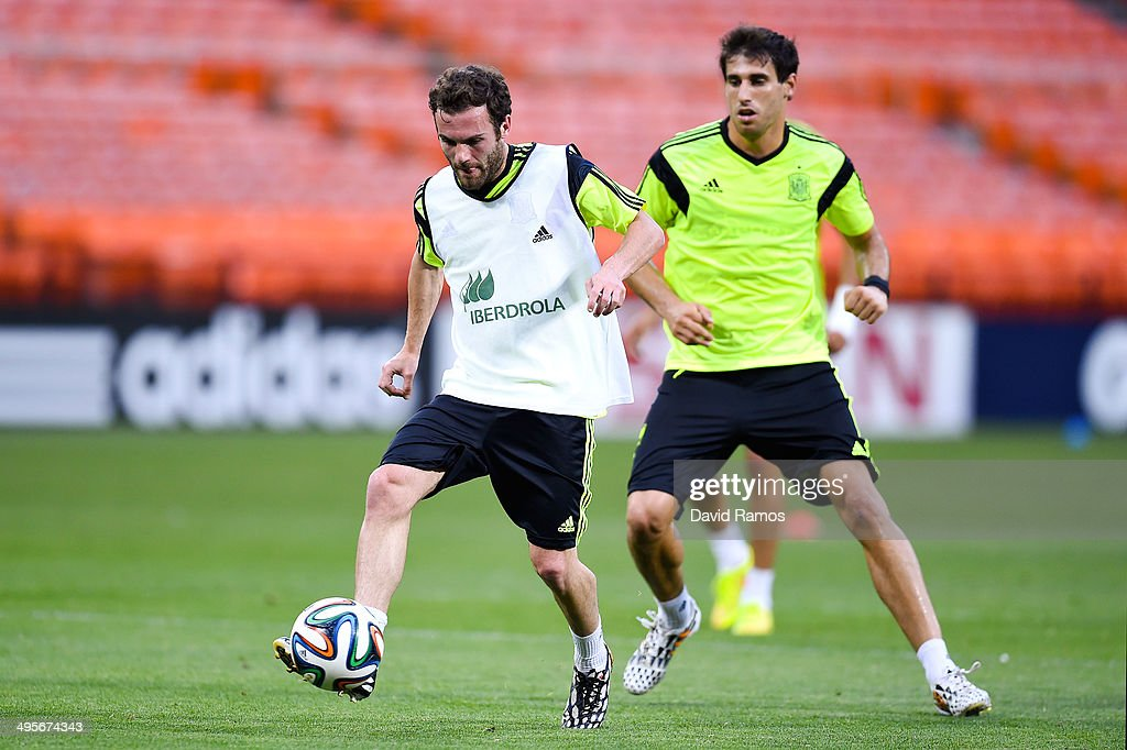 Juan Mata of Spain in action during a training session of the Spain National Team at the Robert F. Kennedy Stadium on June 4, 2014 in Washington, DC.