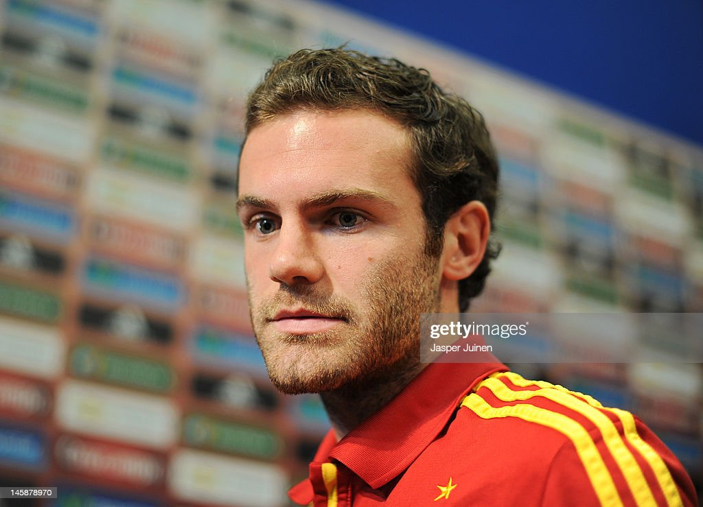 Juan Mata of Spain looks on at the end of his press conference ahead of UEFA EURO 2012 on June 7, 2012 in Gniewino, Poland.