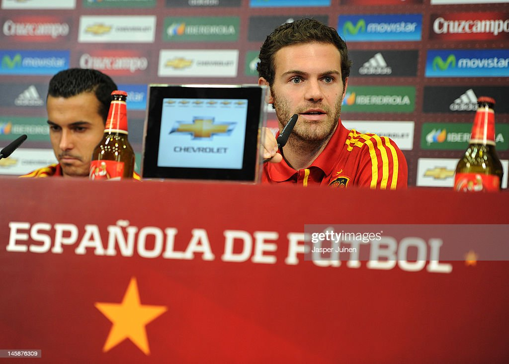 Juan Mata (R) of Spain talks to the media alongside his teammate Pedro Rodriguez during a press conference ahead of UEFA EURO 2012 on June 7, 2012 in Gniewino, Poland.