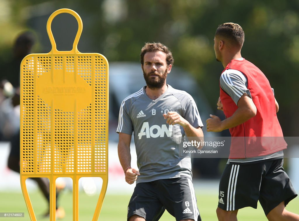 Juan Mata #8 of the Manchester United during a training session for Tour 2017 at UCLA's Drake Stadium July 10, 2017, in Los Angeles, California.