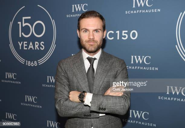 Juan Mata visits the IWC booth during the Maison's launch of its Jubilee Collection at the Salon International de la Haute Horlogerie on January 16...