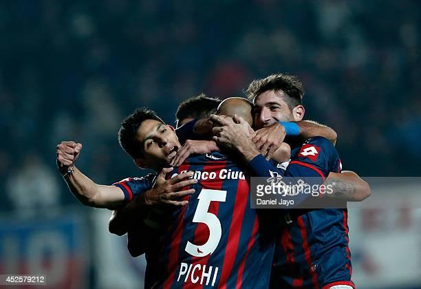 Juan Mercier of San Lorenzo celebrates with teammates after scoring during a first leg semifinal match between San Lorenzo and Bolivar as part of...