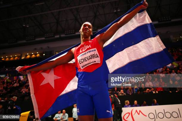 Juan Miguel Echevarria of Cuba celebrates after winning the Long Jump Mens Final during the IAAF World Indoor Championships on Day Two at Arena...