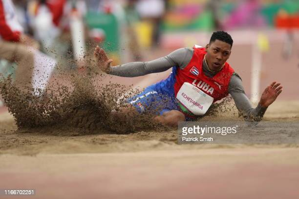 Juan Miguel Echeverría of Cuba competes in Men's Long Jump Final on Day 12 of Lima 2019 Pan American Games at Athletics Stadium of Villa Deportiva...