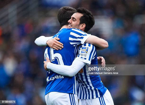 Juan Miguel Jimenez 'Juanmi' of Real Sociedad celebrates after scoring the second goal for Real Sociedad with his team mate Aritz Elustondo of Real...