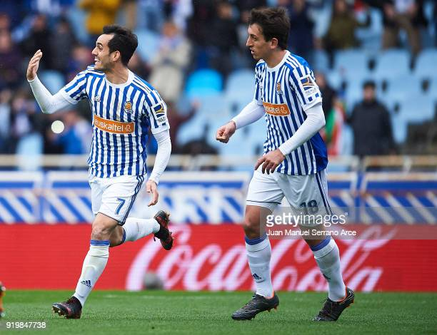 Juan Miguel Jimenez 'Juanmi' of Real Sociedad celebrates after scoring the second goal for Real Sociedad during the La Liga match between Real...