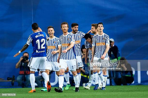 Juan Miguel Jimenez 'Juanmi' of Real Sociedad celebrates after scoring his team's second goal during the La Liga match between Real Sociedad de...