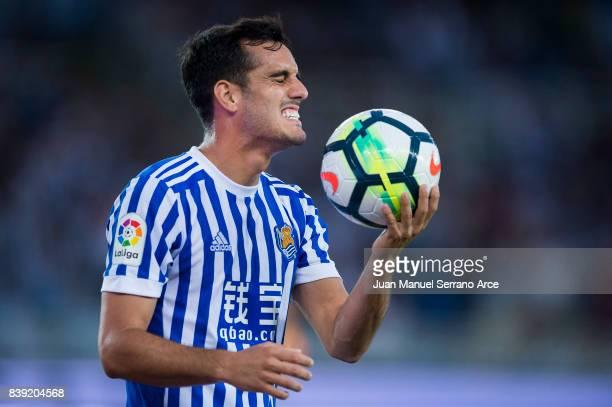 Juan Miguel Jimenez 'Juanmi' of Real Sociedad reacts during the La Liga match between Real Sociedad de Futbol and Villarreal CF at Estadio Anoeta on...