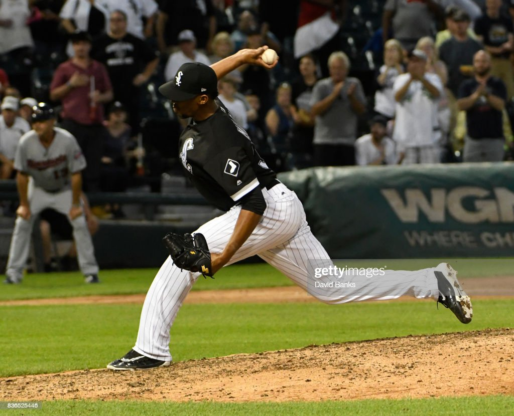 Juan Minaya #37 of the Chicago White Sox pitches against the Minnesota Twins during the ninth inning in game one of a doubleheader on August 21, 2017 at Guaranteed Rate Field in Chicago, Illinois. The White Sox defeated the Twins 7-6.