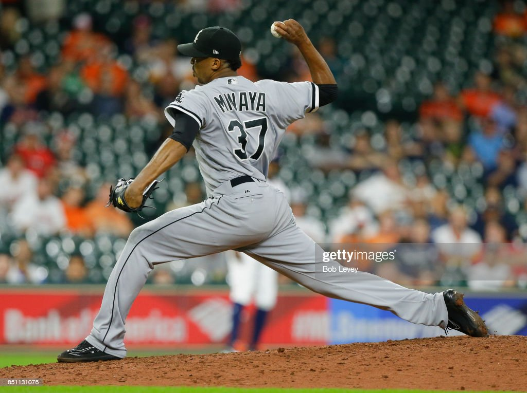 Juan Minaya #37 of the Chicago White Sox pitches in the ninth inning against the Houston Astros at Minute Maid Park on September 21, 2017 in Houston, Texas.