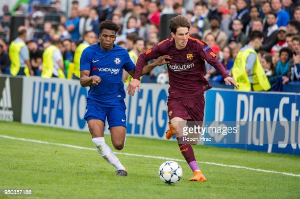 Juan Miranda of FC Barcelona during the UEFA Youth vies with Dujon Sterling of Chelsea FC League Final match between Chelsea FC and FC Barcelona at...