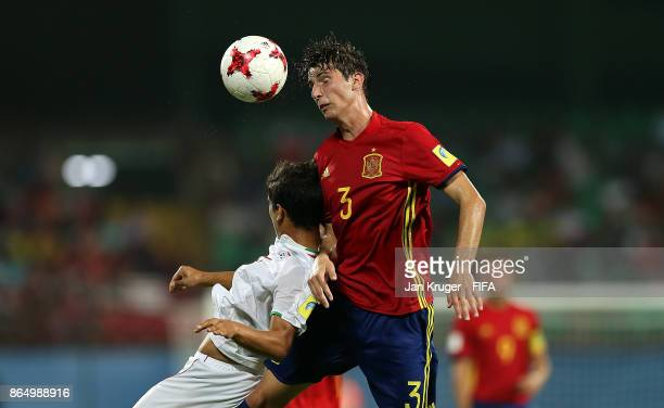 Juan Miranda of Spain clears the ball during the FIFA U17 World Cup India 2017 Quarter Final match between Spain and Iran at Jawaharlal Nehru...