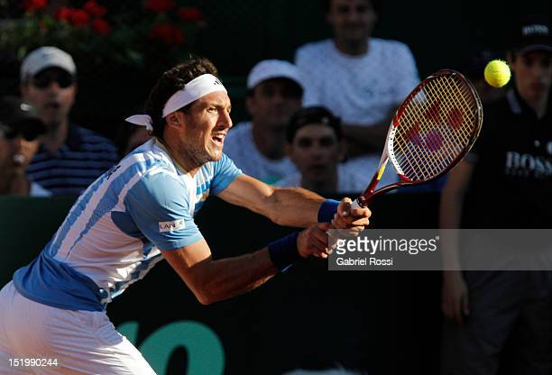 Juan Monaco of Argentina in action during the second Davis Cup semi-final match between Argentina and Czech Republic at Mary Ter‡an de Weiss Stadium...